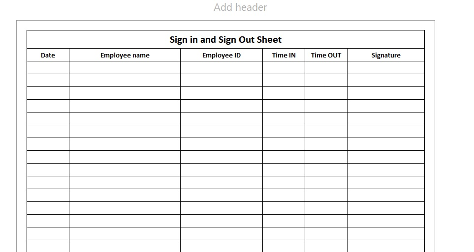 Employee Sign-In Sheet Single