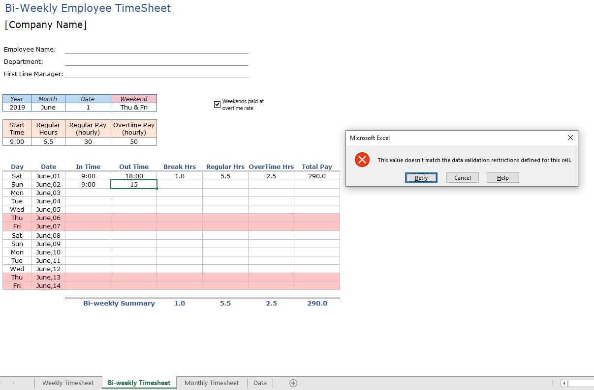 Employee Timesheet Error