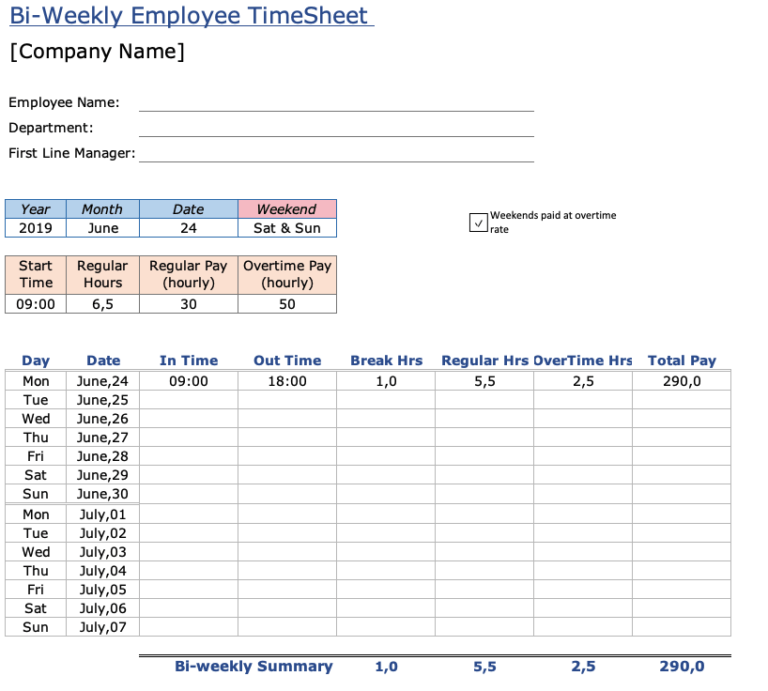 Employee Timesheet Overview