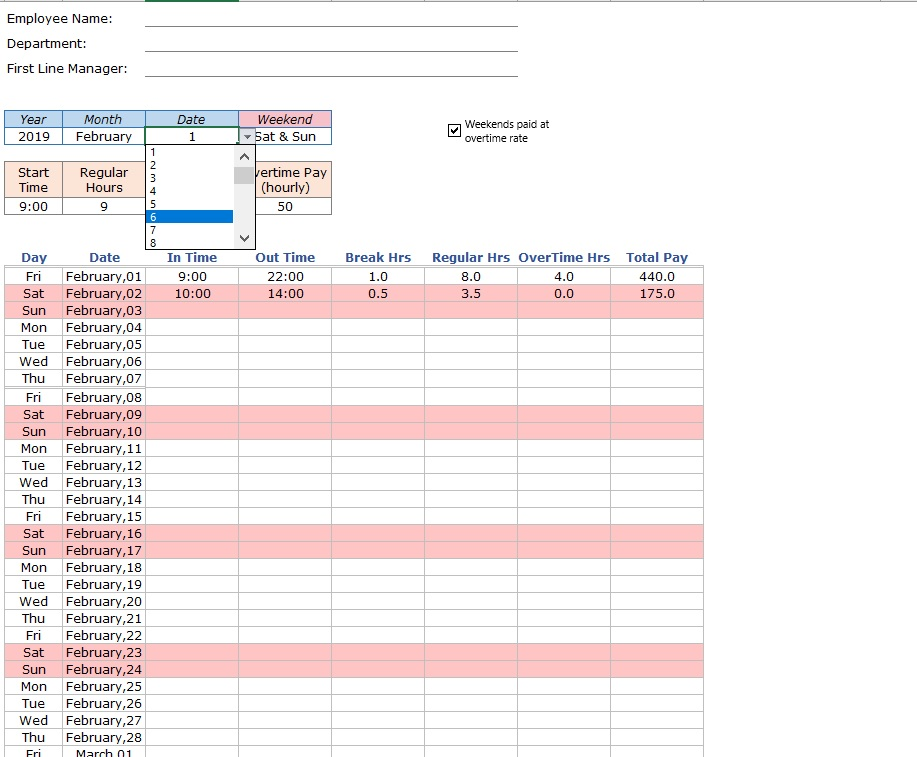 Employee Timesheet Pay Periods Date