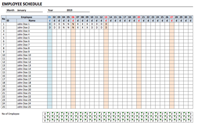Employee Schedule Template monthly
