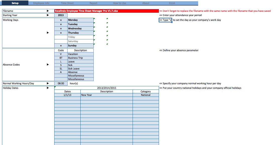 Employee Time Sheet Manager Excel Template