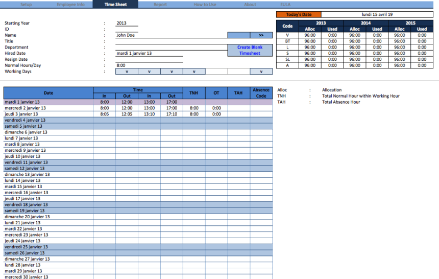 Employee Time Sheet Manager Pro timesheet