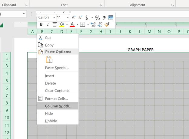 Engineering Graph Paper Template Column Width