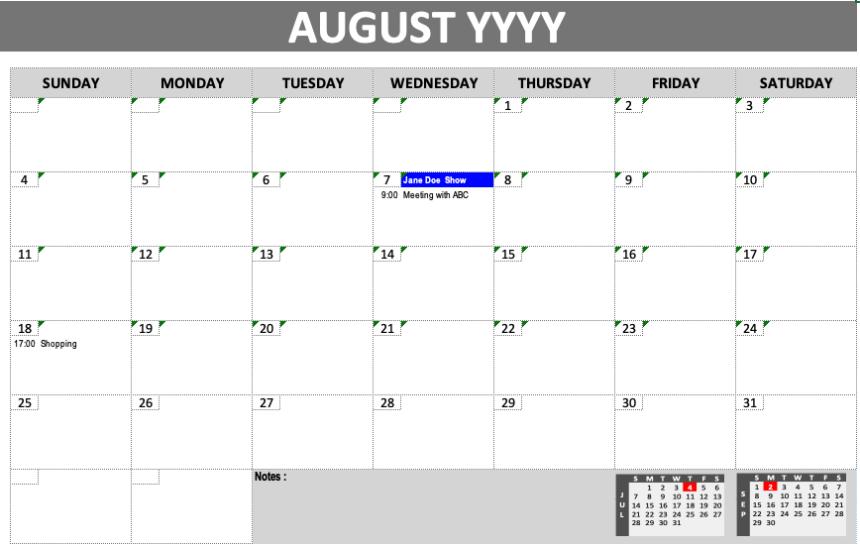 Event Calendar Template Grey Design
