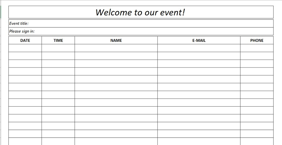 Event Sign-In Sheet Black White