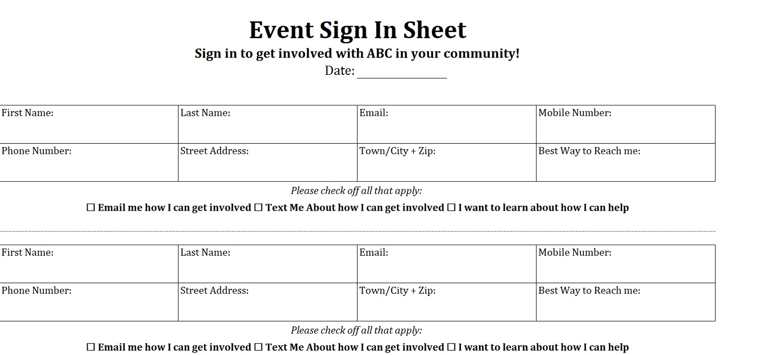 Event Sign-In Sheet Four Per Page