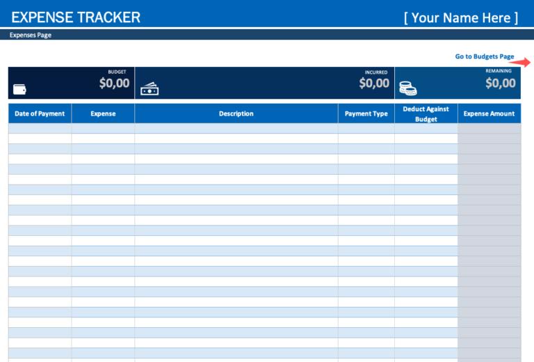 Expense Tracker Main View