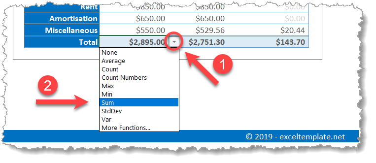 Expense Tracker Sum Function