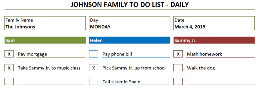 Family To Do List daily