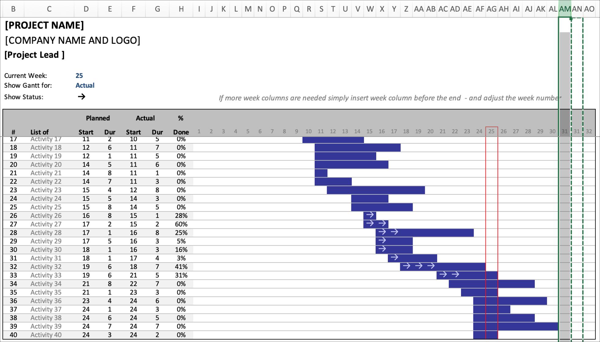 Gantt Schedule Planner Insert Column