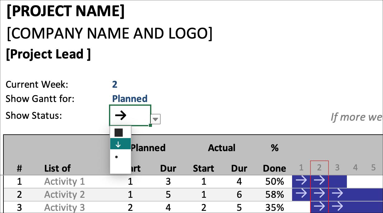 Gantt Schedule Planner Show Status