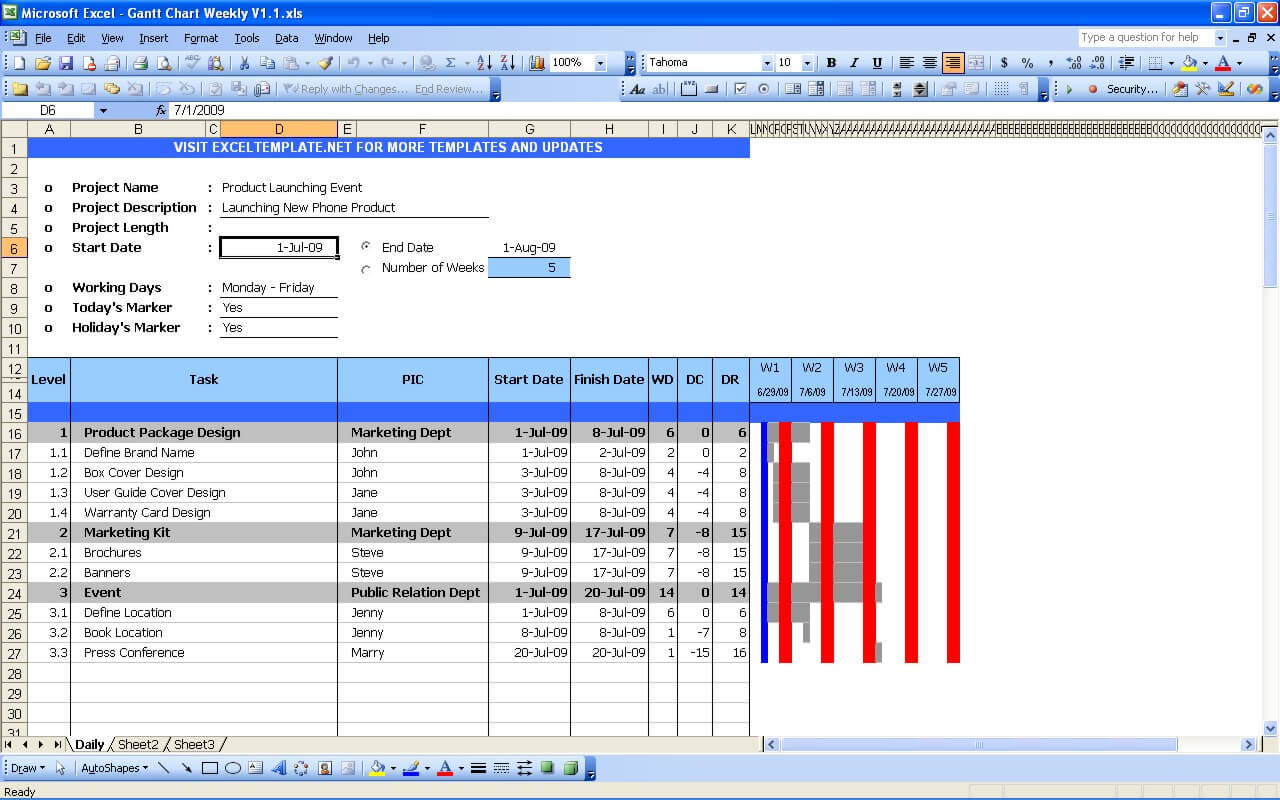 Gantt Chart with Day Column : gantt chart excel template free download : Sample Chart Templates