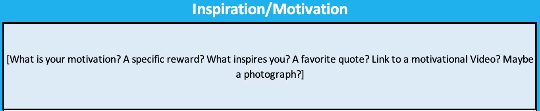 Goal Sheet Inspiration Motivation