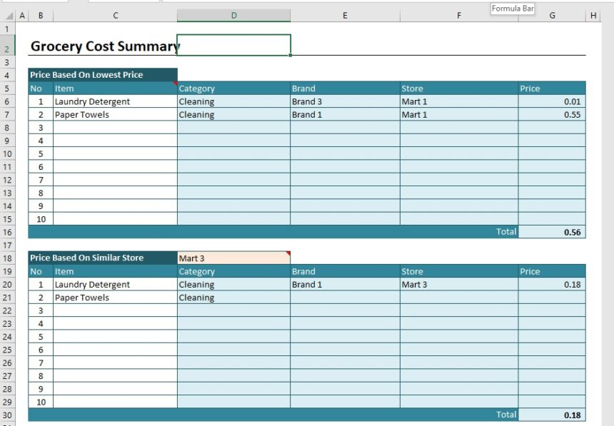 Grocery Price Comparison Spreadsheet Cost Summary