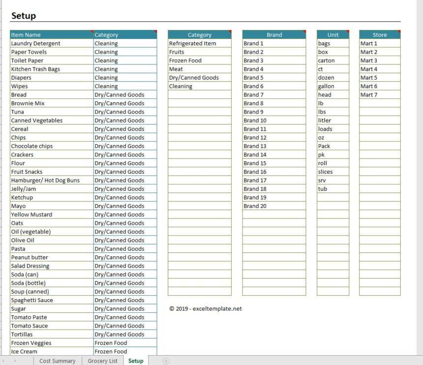grocery price comparison spreadsheet  u00bb exceltemplate net