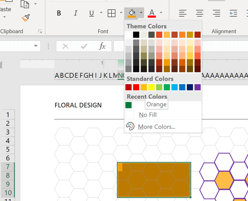 Hexagonal Graph Template Fill Color
