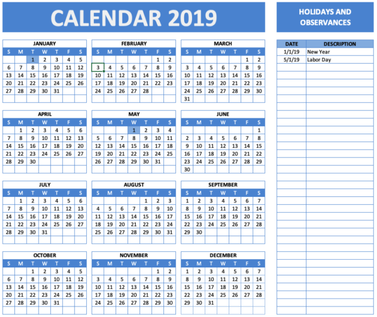 Holiday and Observance Calendar Blue