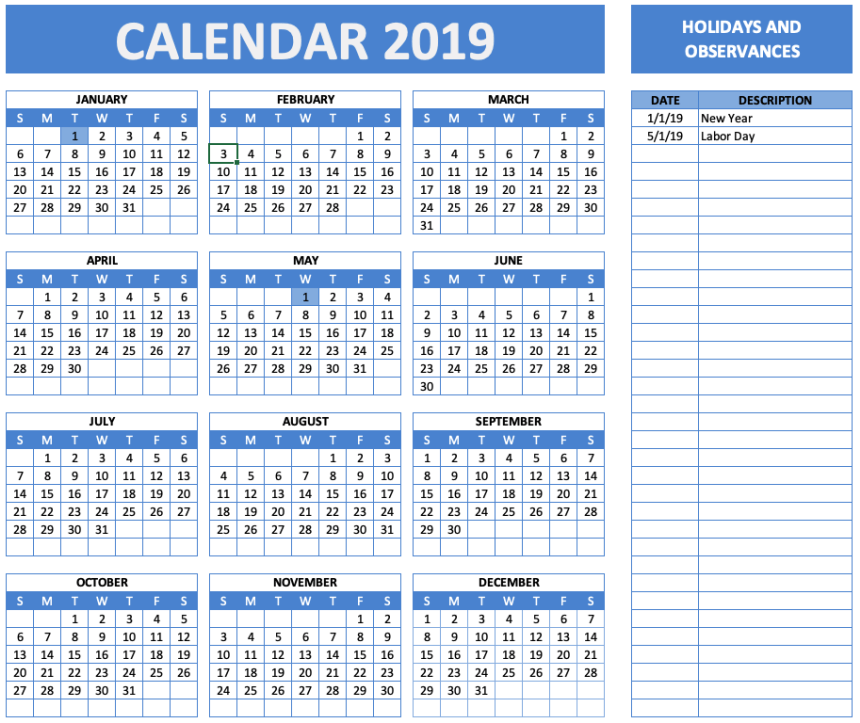 Holiday and Observance Calendar