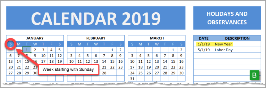 Holiday and Observance Calendar Sunday