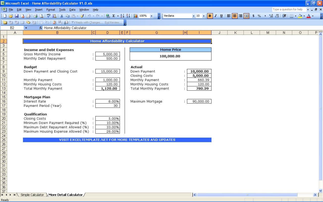 House Affordability Calculator » ExcelTemplate.net