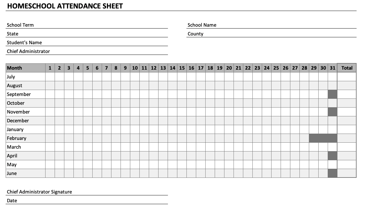 Homeschool Attendance Sheet