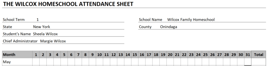 Homeschool Attendance Sheet Personalize