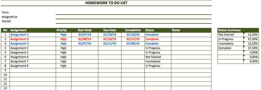 Homework To Do List Template