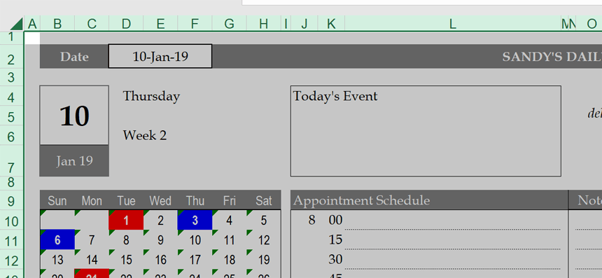 Hourly Daily Planner overwrite formulas