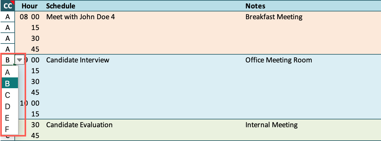 Hourly Schedule Color Coding