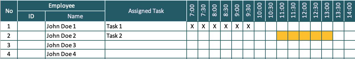 Hourly Schedule Employee Tasks