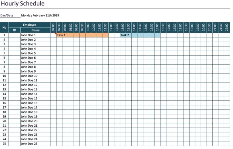 Hourly Schedule Overview