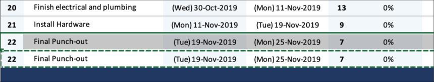 House Construction Gantt Chart Add Tasks
