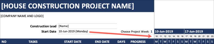 House Construction Gantt Chart Start Date
