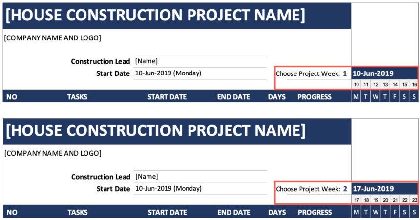 House Construction Gantt Chart Week