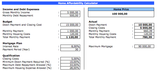 house affordability calculator  u00bb exceltemplate net