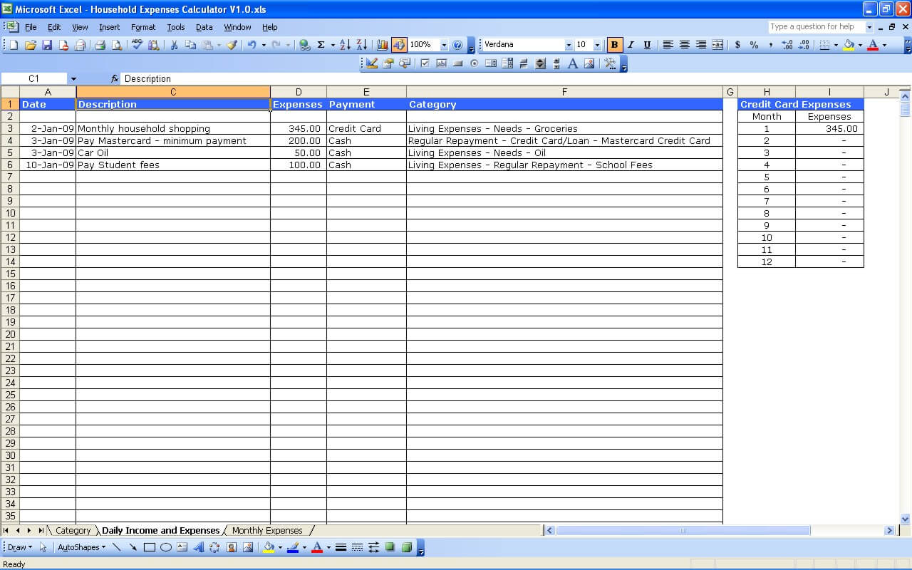 Household expenses excel templates for List of household expenses template