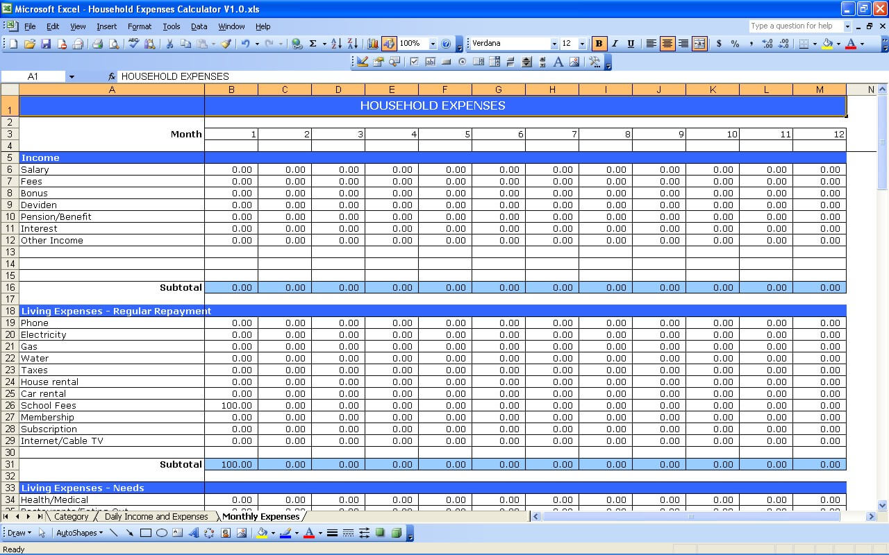 Worksheets Living Expenses Worksheet household expenses excel templates expenses