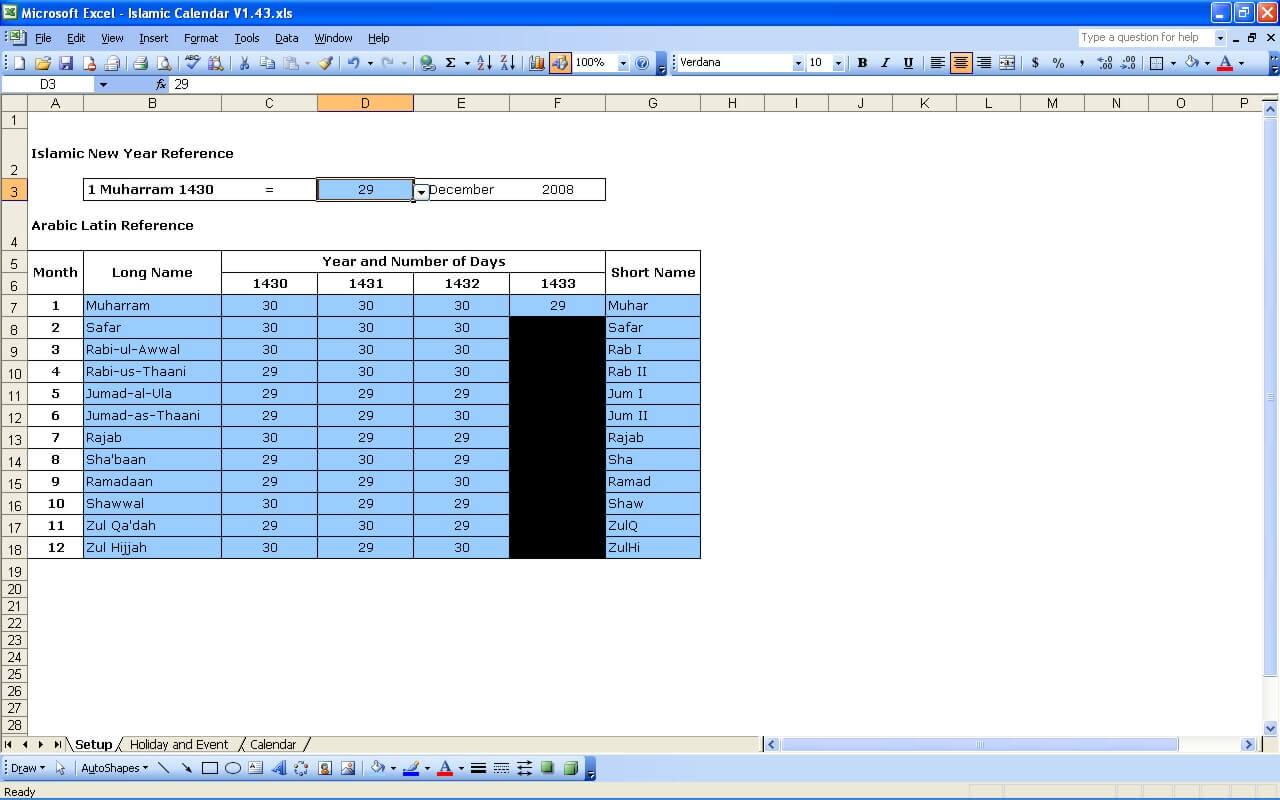 Islamic Calendar | Excel Templates