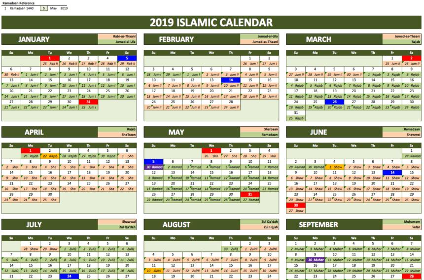 Islamic Calendar 2019