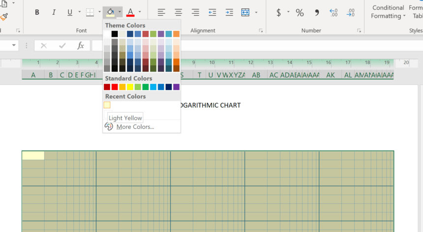 Logarithmic Graph Paper Template Theme Colors