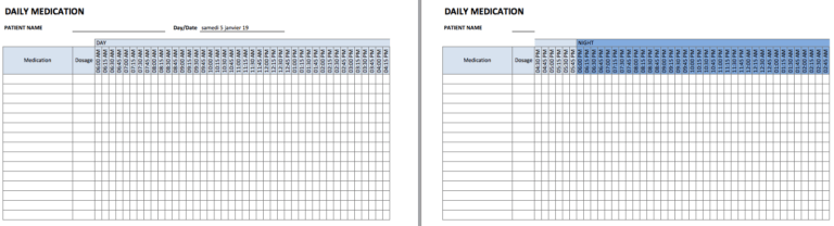 Medication Schedule 15min daily