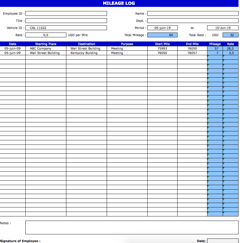 Mileage Log Template » ExcelTemplate.net