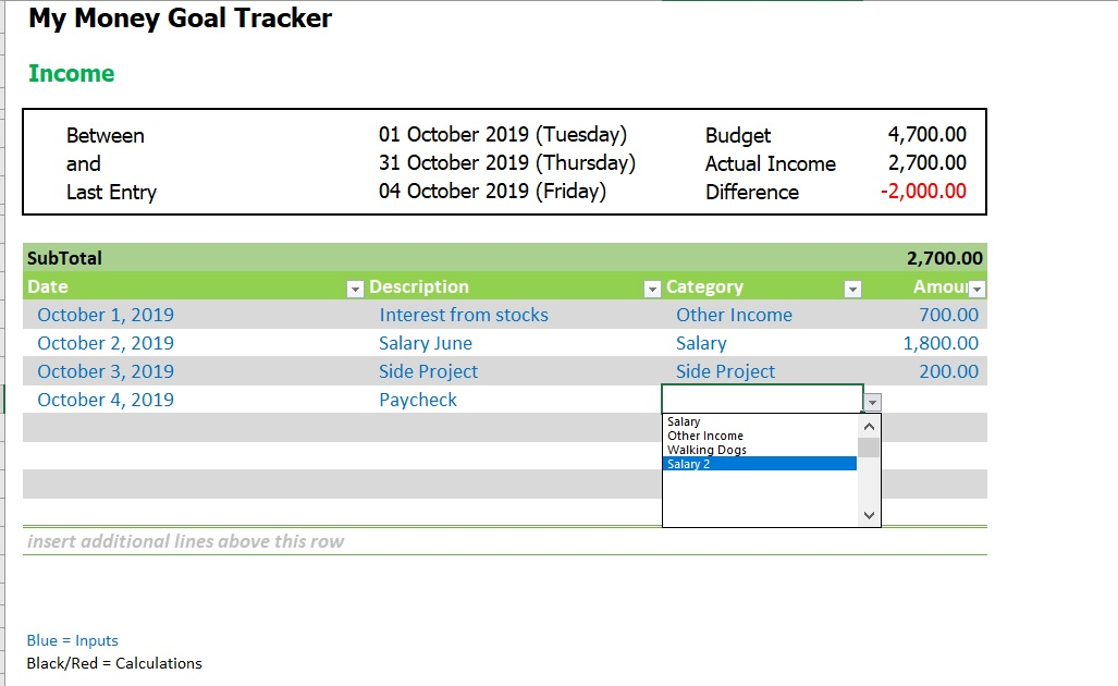 Money Goal Tracker Income Category