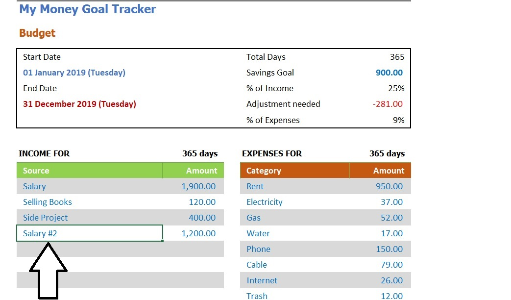 Money Goal Tracker Income