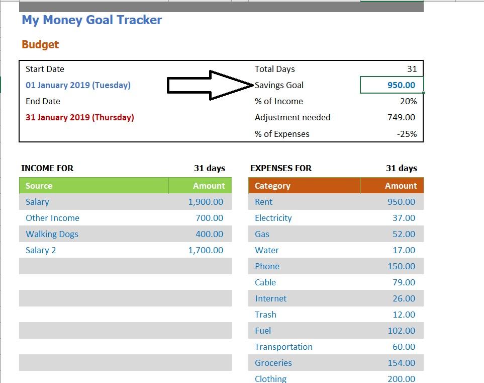 Money Goal Tracker Savings