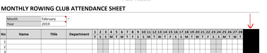 Monthly Attendance Sheet Blanked