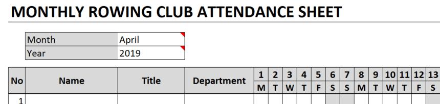 Monthly Attendance Sheet Title