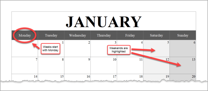 Monthly Calendar Template Landscape January