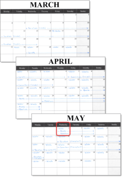 Monthly Calendar Template Landscape Planting Schedule